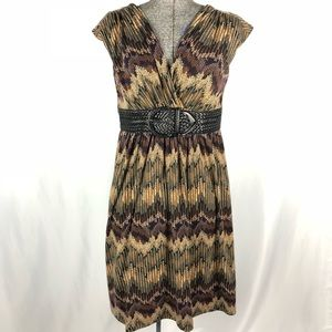 muse chevron faux belted dress